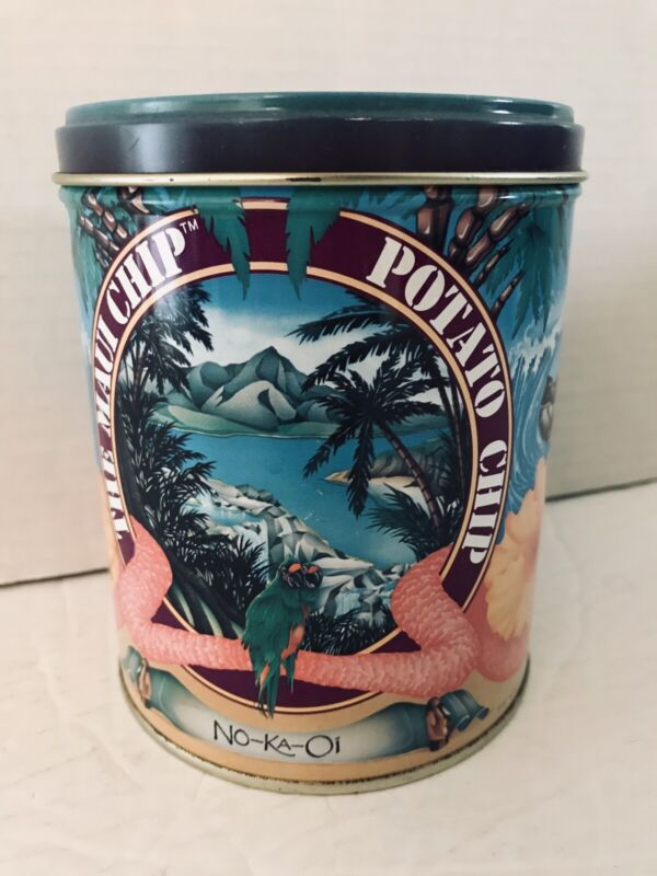 Rare Collector Tin Aloha Airlines The Maui Chip Potato NO-KA-Oi first class item