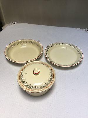 "Vintage Homer Laughlin Embossed Royal Oven Serve Red Silver 10-1/2"" Pie Plate"
