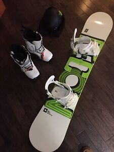 White snowboard with boots