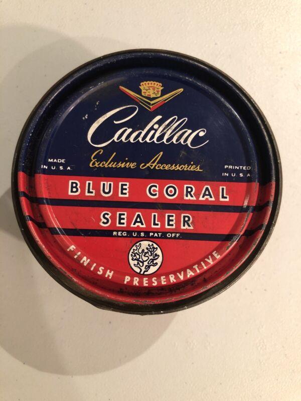 VINTAGE CADILLAC DEALERSHIP POLISH BLUE CORAL SEALER DSIPLAY CAN WAX ADVERTISING