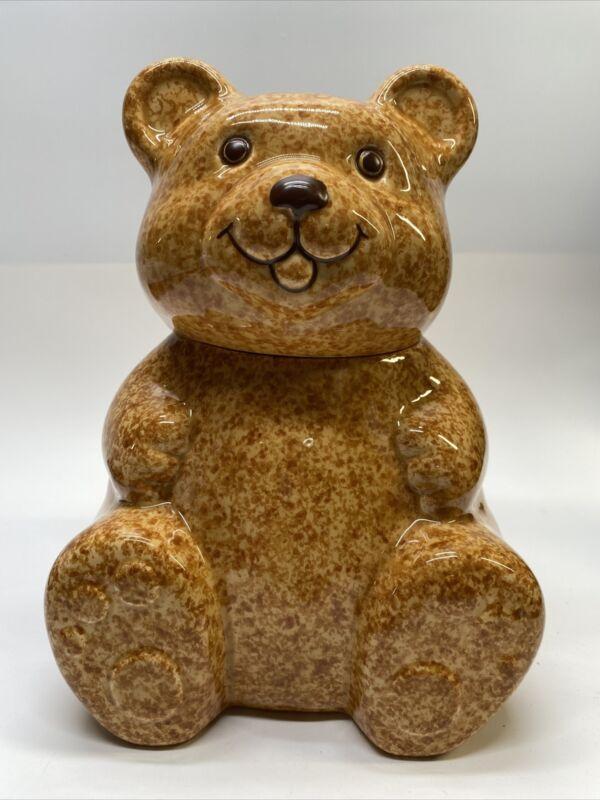 """Vintage AVON Brown Teddy Bear 10 1/2"""" Tall Cookie Jar"""