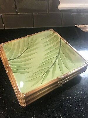 Set Of 3 Clay Art ZANZIBAR MOSS Green Leaves Bamboo Square Salad Plate 6175573