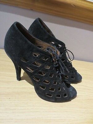 Black suede stiletto party lace-up cutout 1940s shoe boots, Zara Woman, UK7/EU40 for sale  Shipping to Nigeria