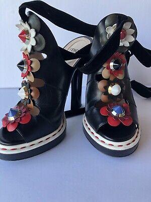 FENDI Peep Toe Heels Floral Applique Ankle Velvet Strap Sz 37.5 Retail $1,300