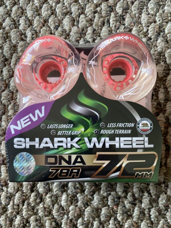Shark Wheels Longboard Sidewinder DNATech 72mm 78a Clear PINK  Core W Lettering