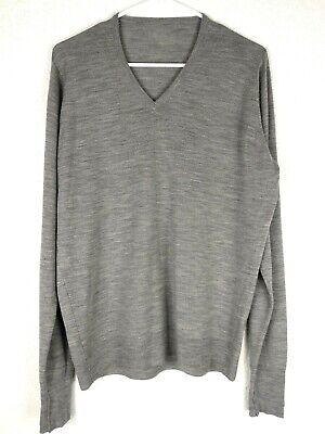 John Smedley Men's Pullover Sweater V Neck Gray 100% Wool Stretchy England Large Gray Wool V-neck Sweater