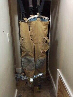 Firefighter Janesville Lion Turnout Bunker Pants 38r Padded Suspenders Gear