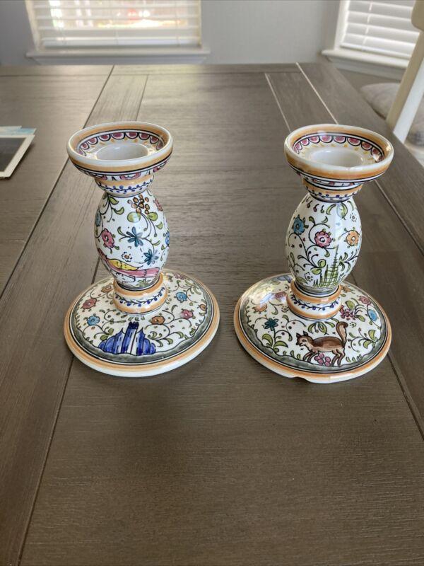 Pair of Ceramicas De Coimbra Portugal Hand Painted Candlesticks Sec XVII