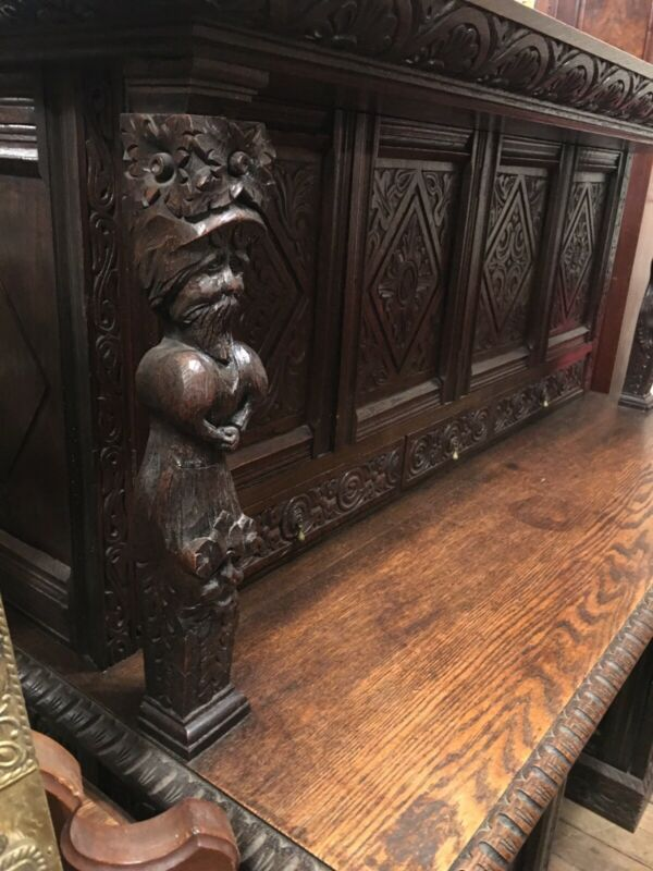 Unusual ANTIQUE FRENCH JACOBEAN REVIVAL DESK W/ FIGURES Highly Carved 1880s