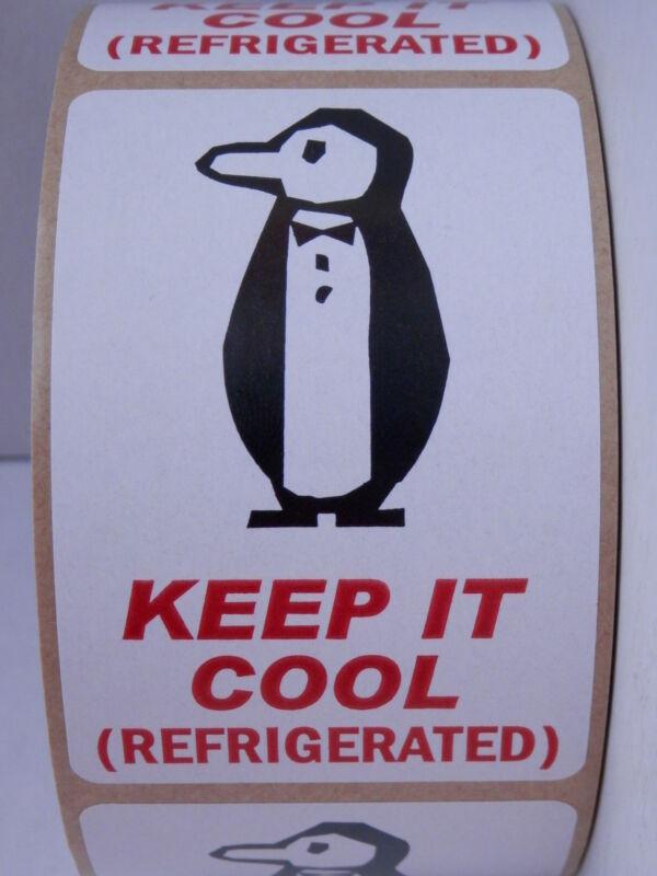 KEEP IT COOL (REFRIGERATED) intl penguin symbol 2x3 Warning Label Sticker 250/rl
