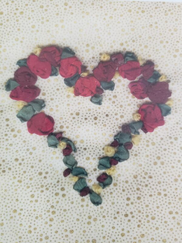 Heart with Red Roses Hand Dyed Silk Ribbon Embroidery Kit Divine Threads