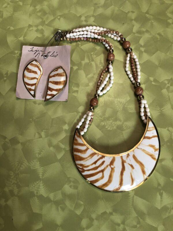 Large Tiger Nautilus Shell Nautical Necklace Earring Set Beautiful