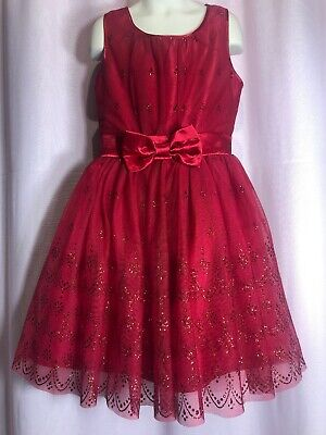 Pinky Size 8 dress Wedding Glitter Red flower Girl Tulle Bridesmaid Easter J2  - Girls Easter Dresses Size 8