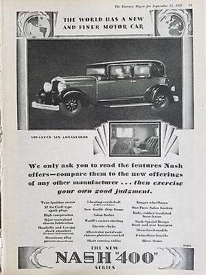 1928 Nash 400 Series Advanced Six Ambassador Car Original Ad