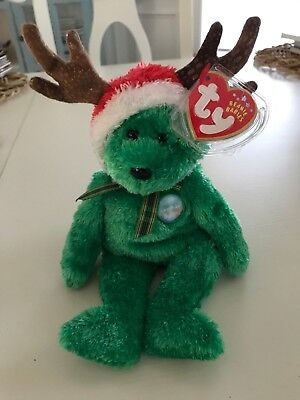 Ty 2002 HOLIDAY TEDDY Green Christmas Reindeer Bear Beanie Baby Babies  MWMT