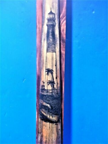 SCRIMSHAW SWORDFISH BILL,DRY TORTUGAS LIGHTHOUSE,STEAM LAUNCH, FREEHAND ORIGINAL