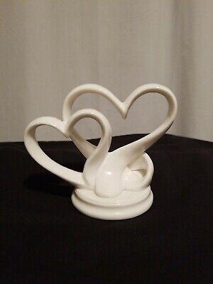 Wedding Cake Top Topper White Double Heart Porcelain 4