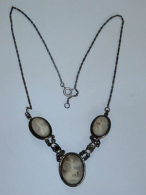 Vintage Sterling And Carved Shell Three/Triple Cameo Necklace