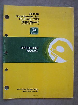 John Deere 38 Inch Snowthrower Operators Manual F510 F525 Front Mower H9