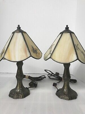 """2 Vintage Tiffany Meyda Signed Desk Lamps Leaded Stained Glass Duck Design 11"""" Ducks Stained Glass Tiffany Lamp"""