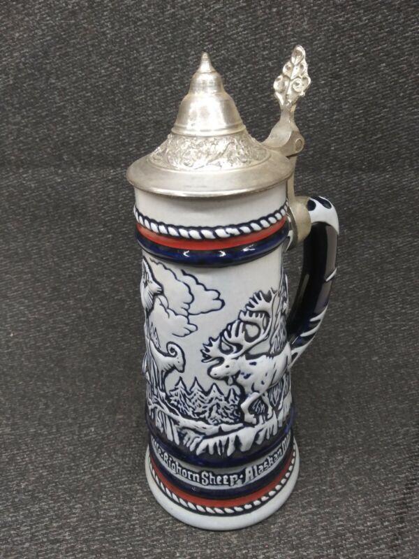 Avon 1976 Ceramic Lidded Beer Stein Animal Scene