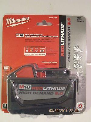 Milwaukee 48-11-1890 M18 FUEL REDLITHIUM HD 9.0 Ah Li-Ion BATTERY F/PRI-SHP NEW!