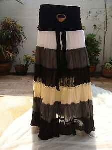 Long Skirt Cotton Ladies Woman Boho Hippie Gypsy Coconut Bunkle Free Size (k163)