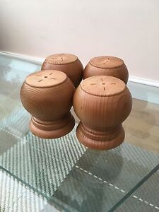 WOODEN BUN FEET PINE LACQUERED FURNITURE LEGS    SET OF X4