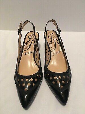 J Renee Black Patent Pointed Toe Slingback Dress Adalyn Shoe Ladies 6.5 Medium (Black Patent Dress Slingback)