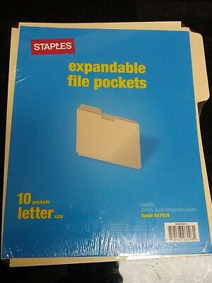 New Staples Paper Stock File Jackets Letter Size Manila 10 Pack 647934