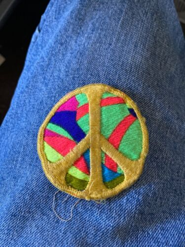 Vintage 1960's or Early 70's Psychedelic Hippie Peace Cloth Patch