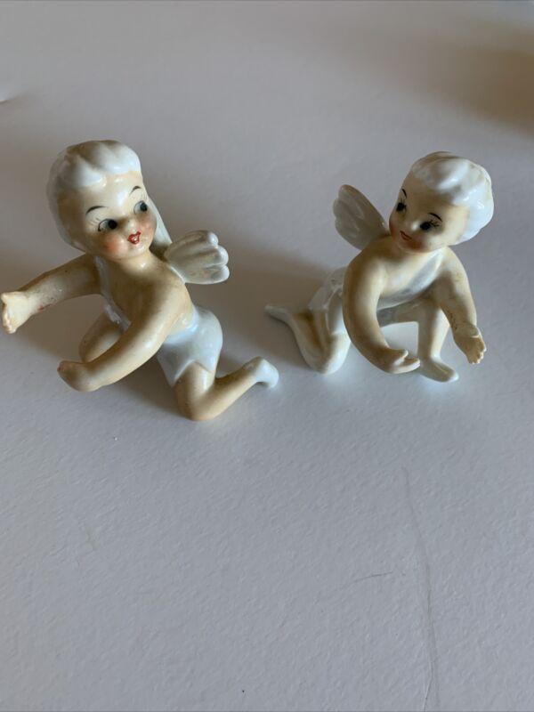Vtg Pair Angel Pixie Fairy Ceramic Candle Huggers Climber Japan Iridescent