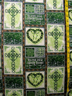 BLESS OUR IRISH HOME SHAMROCK PATCH PRINT 100% COTTON FABRIC BY THE 1/2 YARD