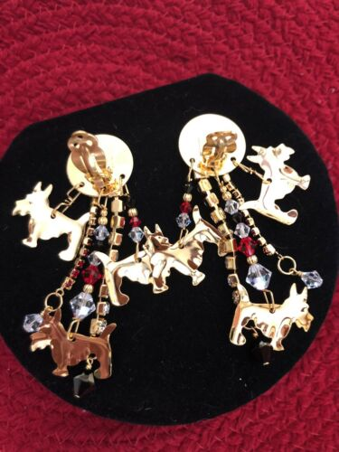 Lunch At The Ritz TEACUP SCOTTIES Clip Earrings Never Worn RARE  - $155.00