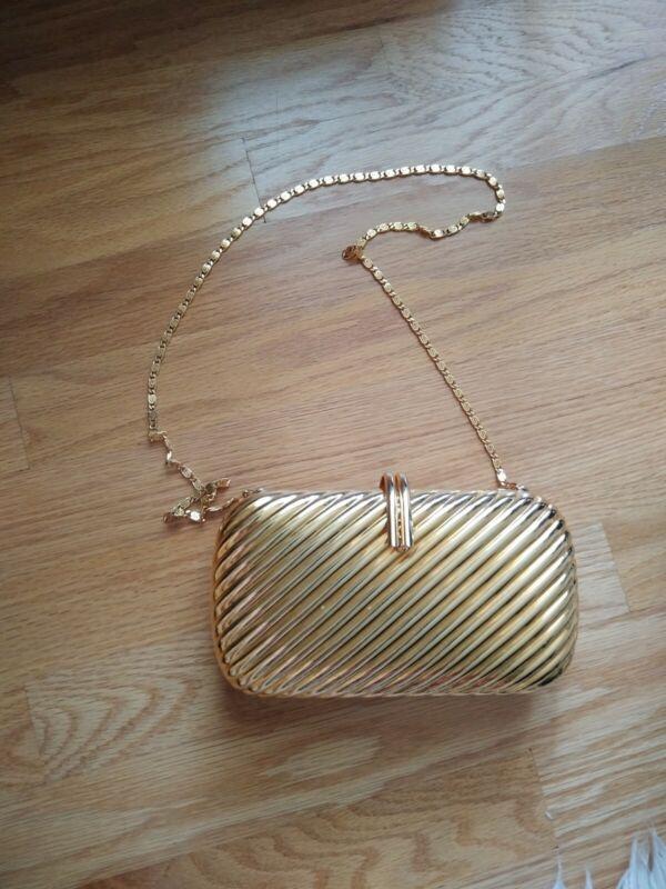 Vintage Gold Clutch Purse Metal Evening Bag W/Shoulder Chain-Hard Case