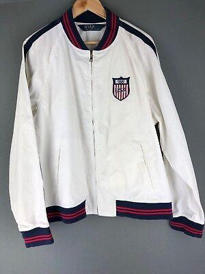 Polo Ralph Lauren USA Olympic White Cotton Full Zip Windbreaker Jacket PRL XL