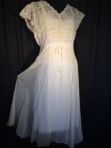 Vintage lace Bridal 50's ivory Wedding Dress fit & flare Sheer midi Cap sleeve L