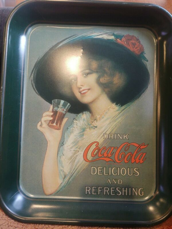 Vintage Coca Cola Tray Lady In hat Holding coca Cola Glass