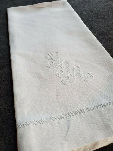 LG Antique Vtg Irish Linen Huck Bath Towel Triple Monogram G G A  26x39 GGA