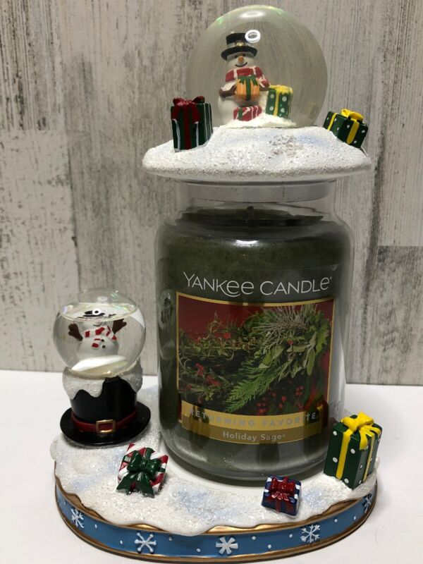 YANKEE CANDLE Lighted Snowglobe Christmas Snowman Jar Holder, Topper, Candle Set