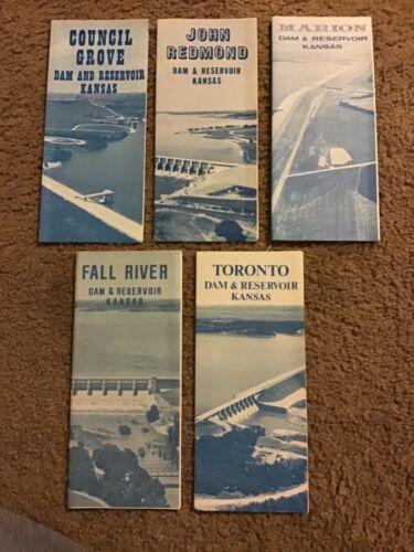 5 Vintage 1969 KANSAS DAM AND RESERVOIR Tourism brochure/pamphlet MARION REDMOND