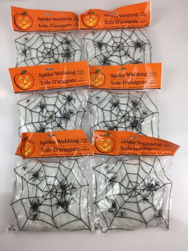 6 Bags White Stretchy Halloween Spider Webbing Cobwebs