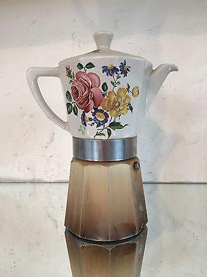 Antiker Espressokocher, Espressomaschine Designklassiker, Porzellan Floral