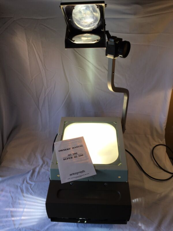 Elmo HP-L355 Overhead Transparency Projector; Working Bulb, Manual, Glass Slides