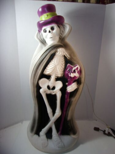 "Vintage Blow Mold Rare Halloween 32"" Skeleton Cape Cat Cane Hat Ghoul"