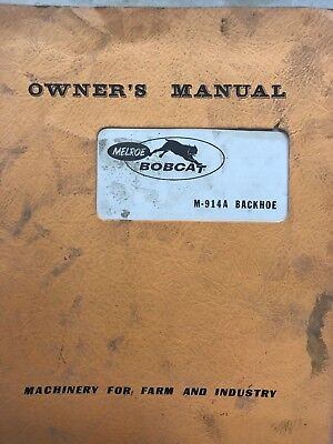 Bobcat Owners Manual M-914a Back Hoe