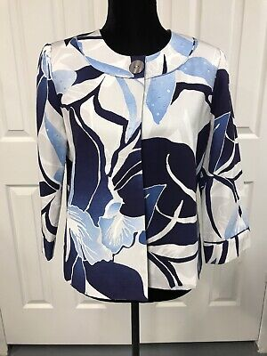 Chicos Size 1 Blue Floral, One Button, Cotton And Silk Jacket, 3/4 Sleeve