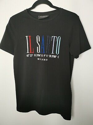 IL SARTO Mens Embroidered T-Shirt Size S Black Crew Neck Short Sleeved Top