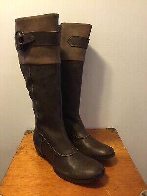 HENRY BEGUELIN BROWN SUEDE & LEATHER SLOUCHY TALL EQUESTRIAN BIKER BOOT  39 - 9