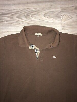 Burberry London Men's Short Sleeve Knit Polo Shirt Brown XL